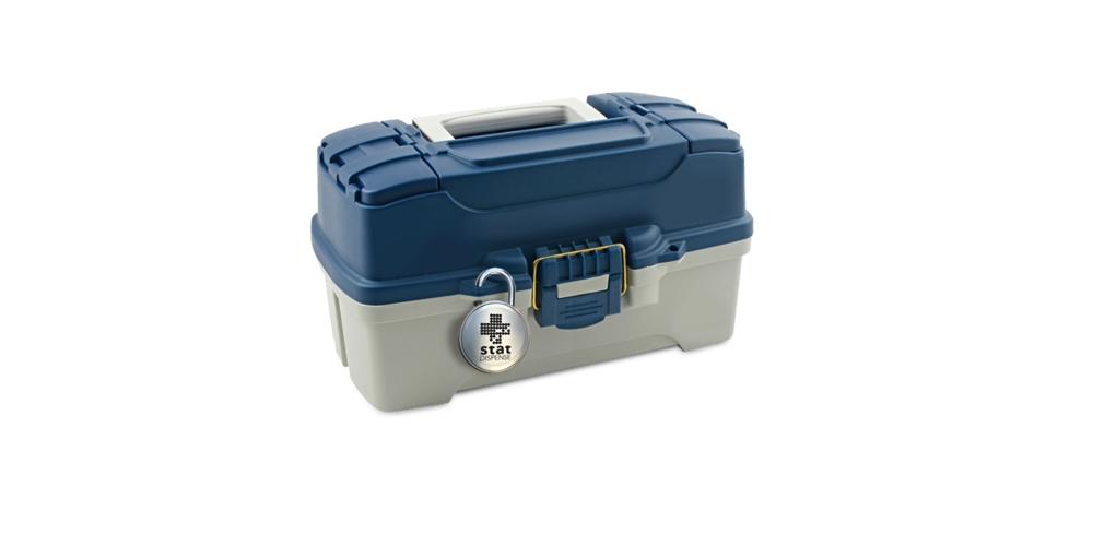 statDispense lock on tackle-box emergency medication kit