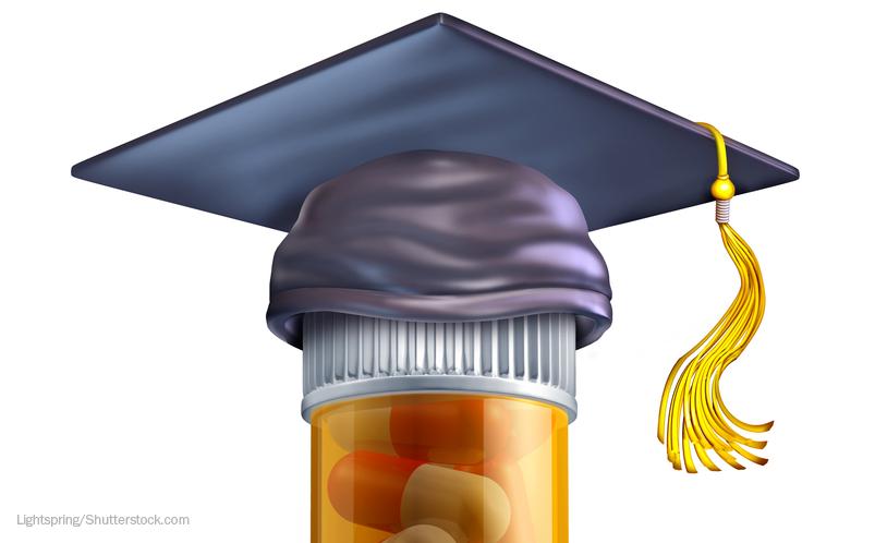 Pills with graduation cap