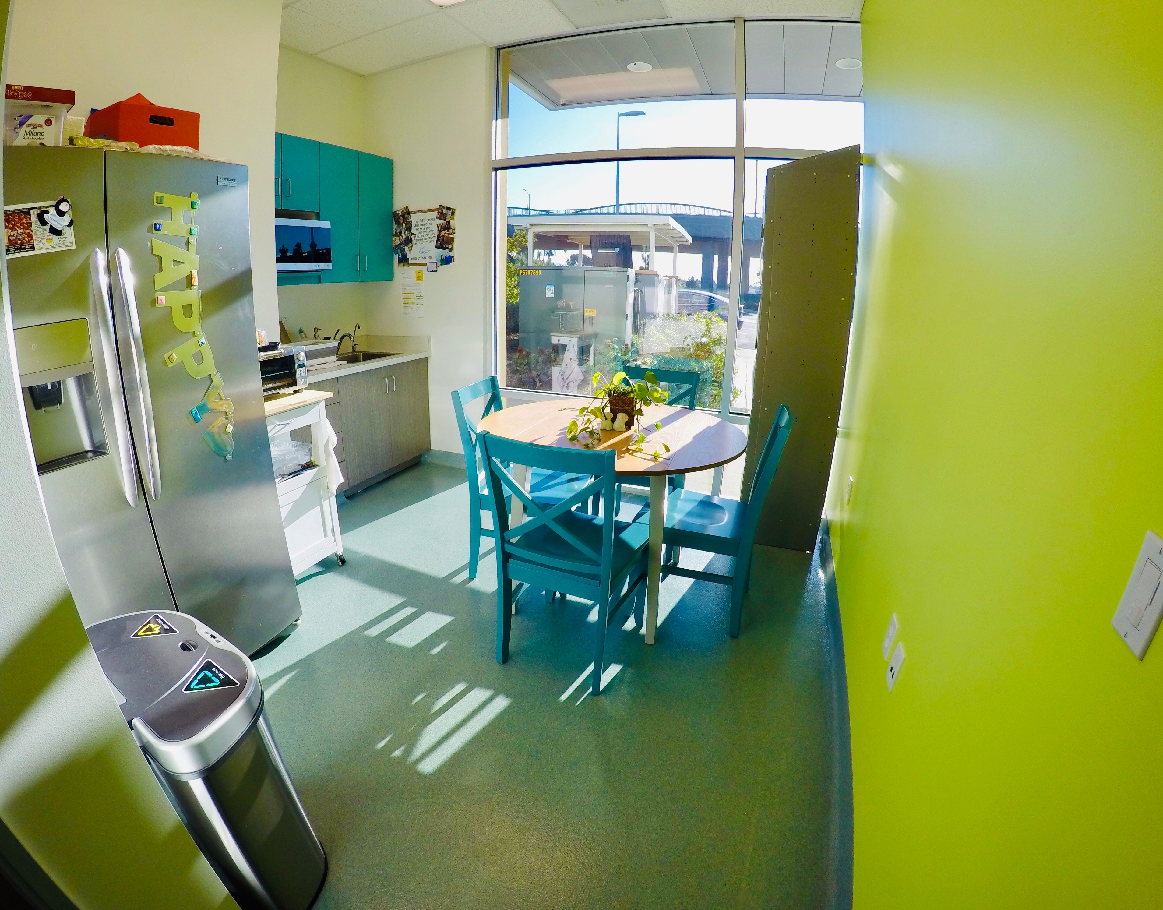 green and blue break room