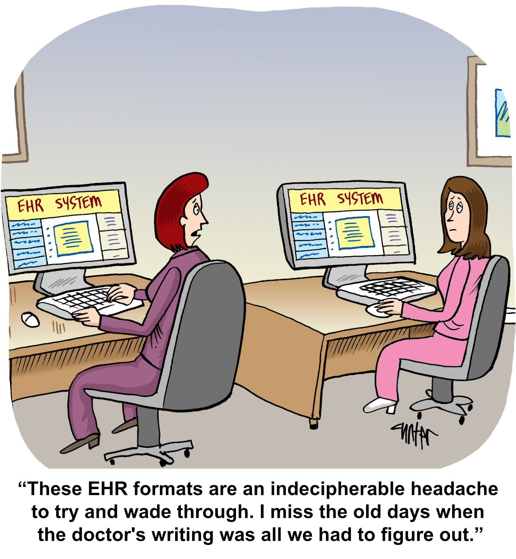 Medical Economics Cartoon: Pining for the days of bad handwriting