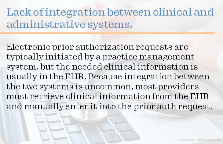 Lack of integration between clinical and administrative systems.