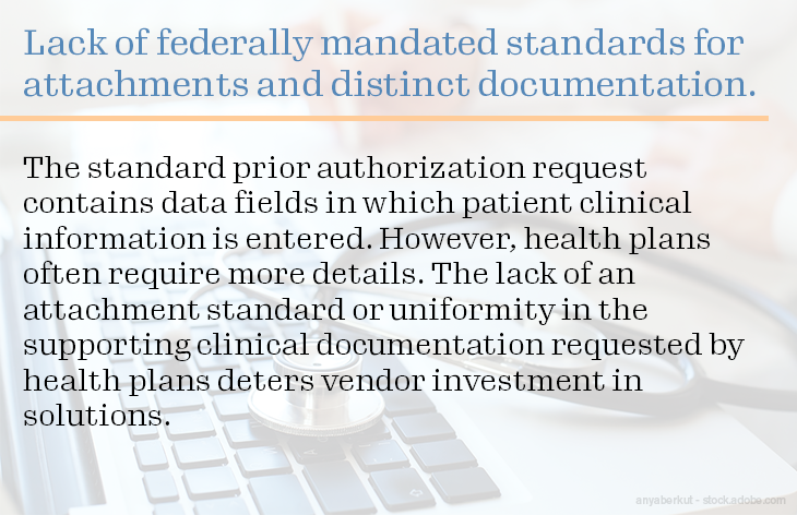 Lack of federally mandated standards for attachments and distinct documentation.