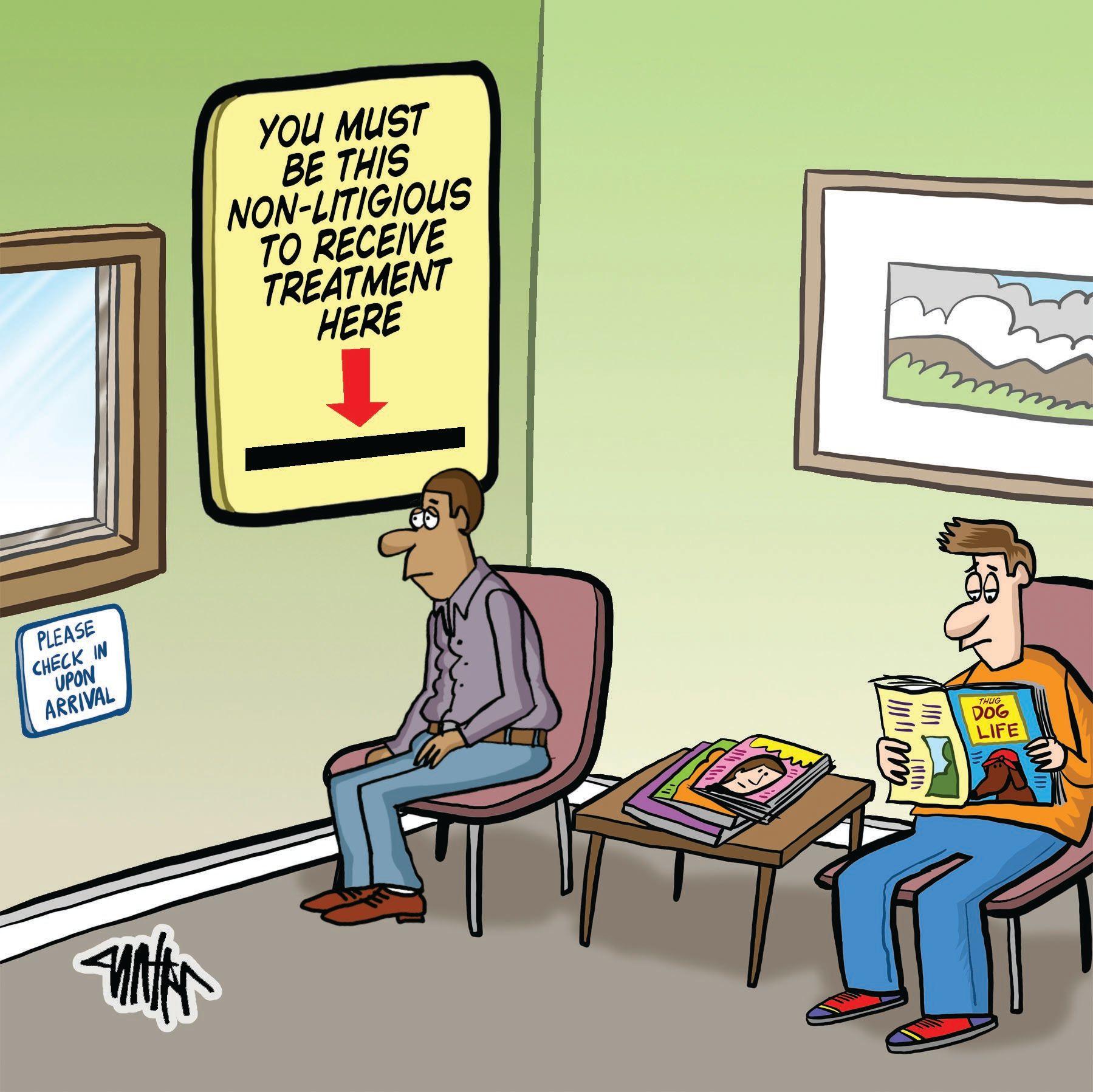 Medical Economics cartoon: Litigation strategies
