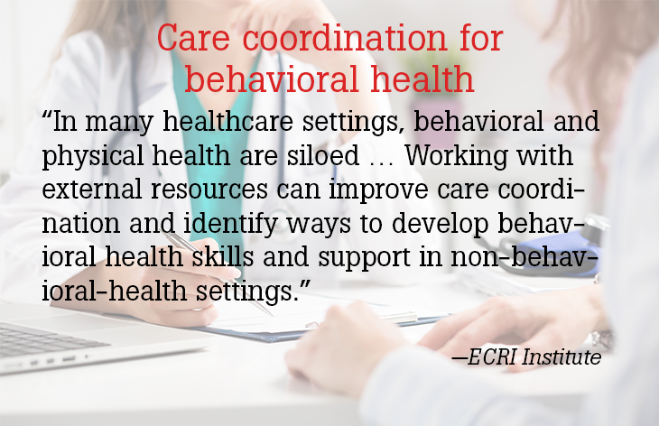 Care coordination for behavioral health