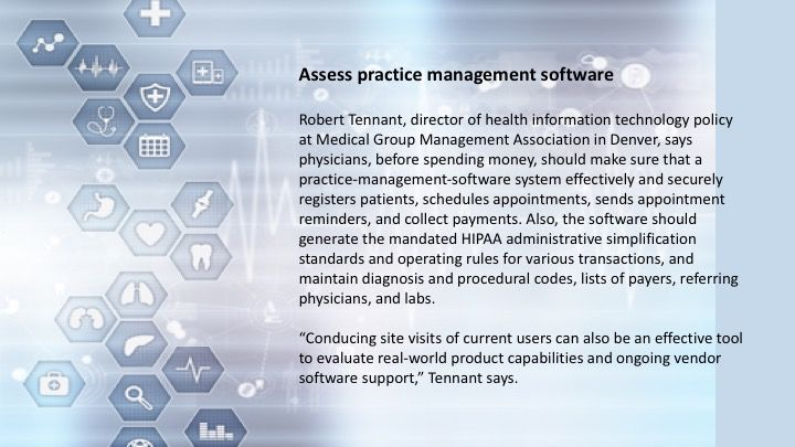 Assess practice management software