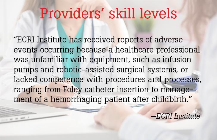 Providers skill levels