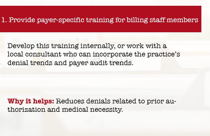 Provide payer specific training for billing staff members