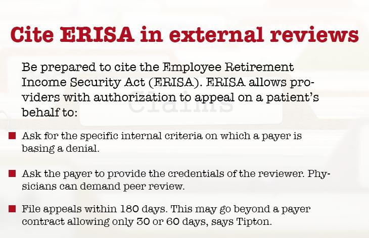 Cite ERISA in external reviews