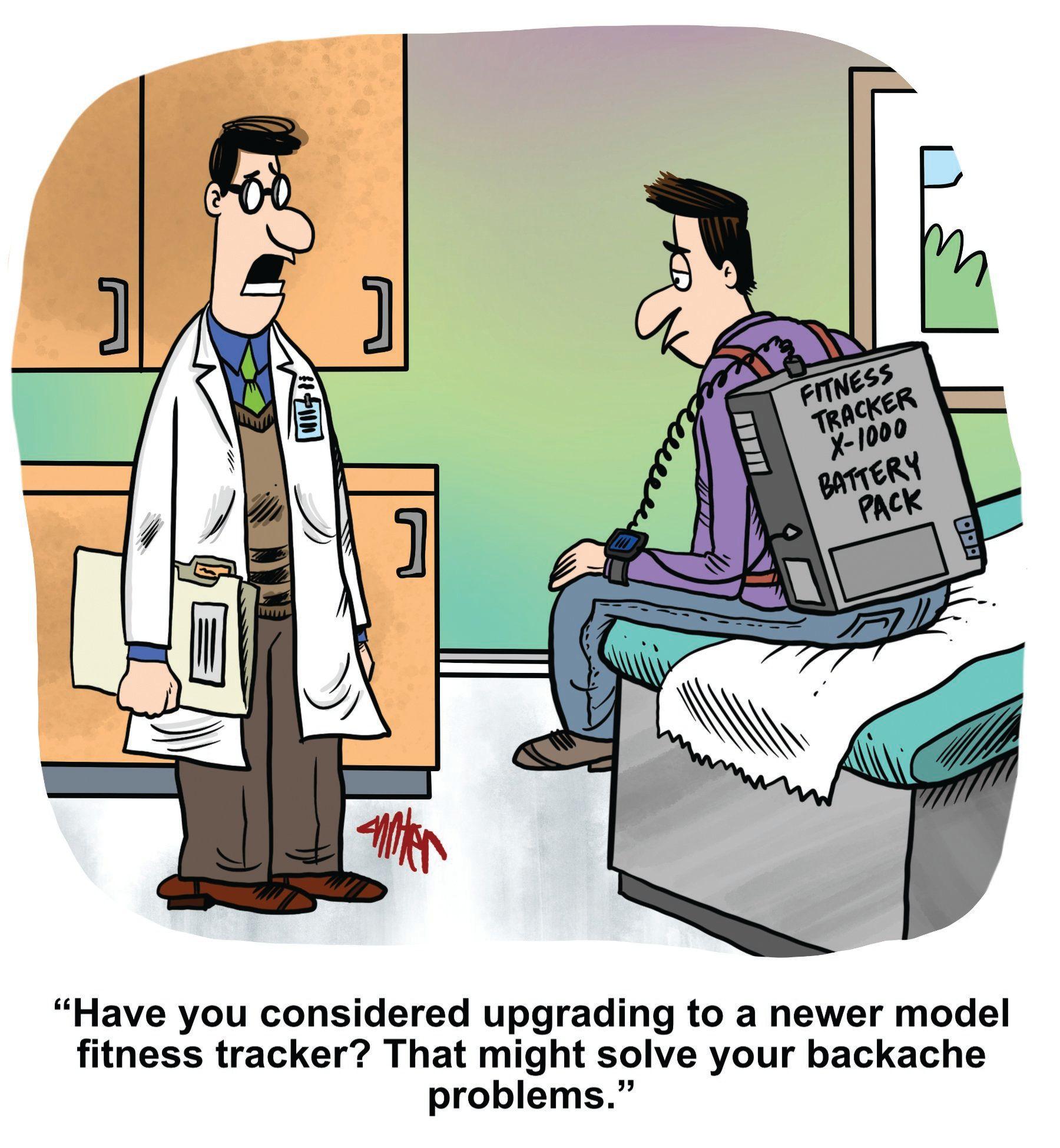 Medical Economics cartoon: The old fitness tracker