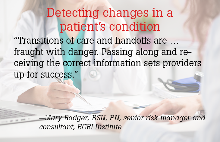 Detecting changes in a patient's condition
