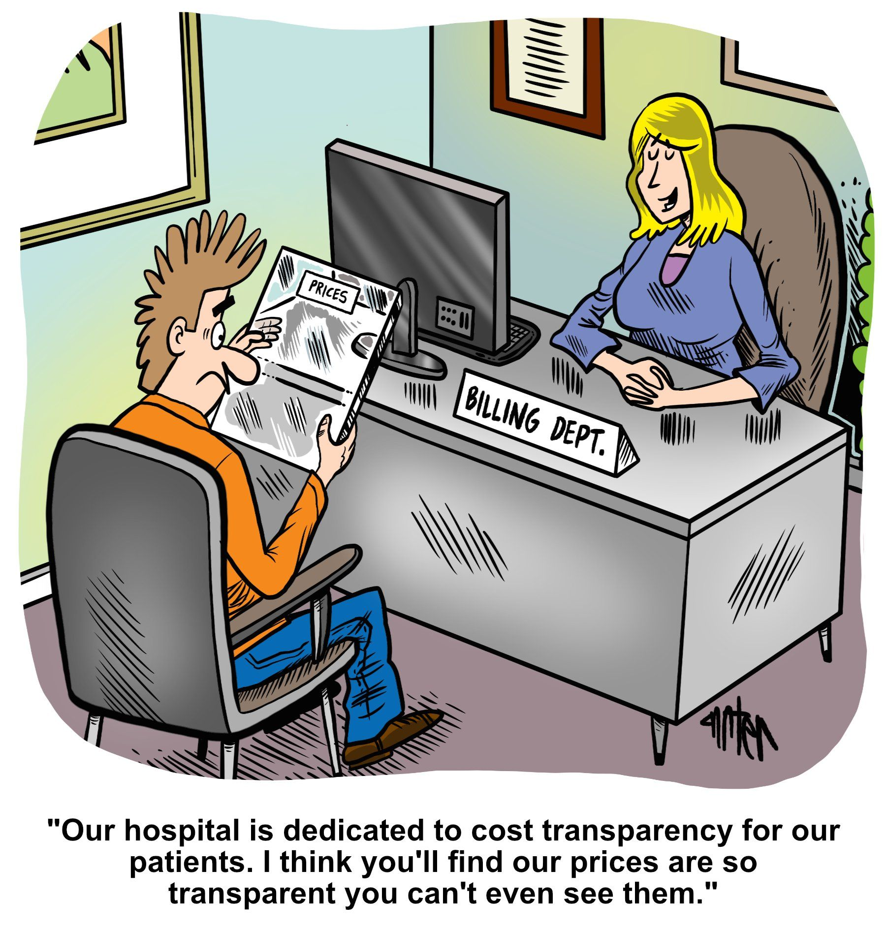 Medical Economics cartoon: Are your costs too transparent?