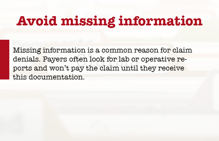 Avoid missing information