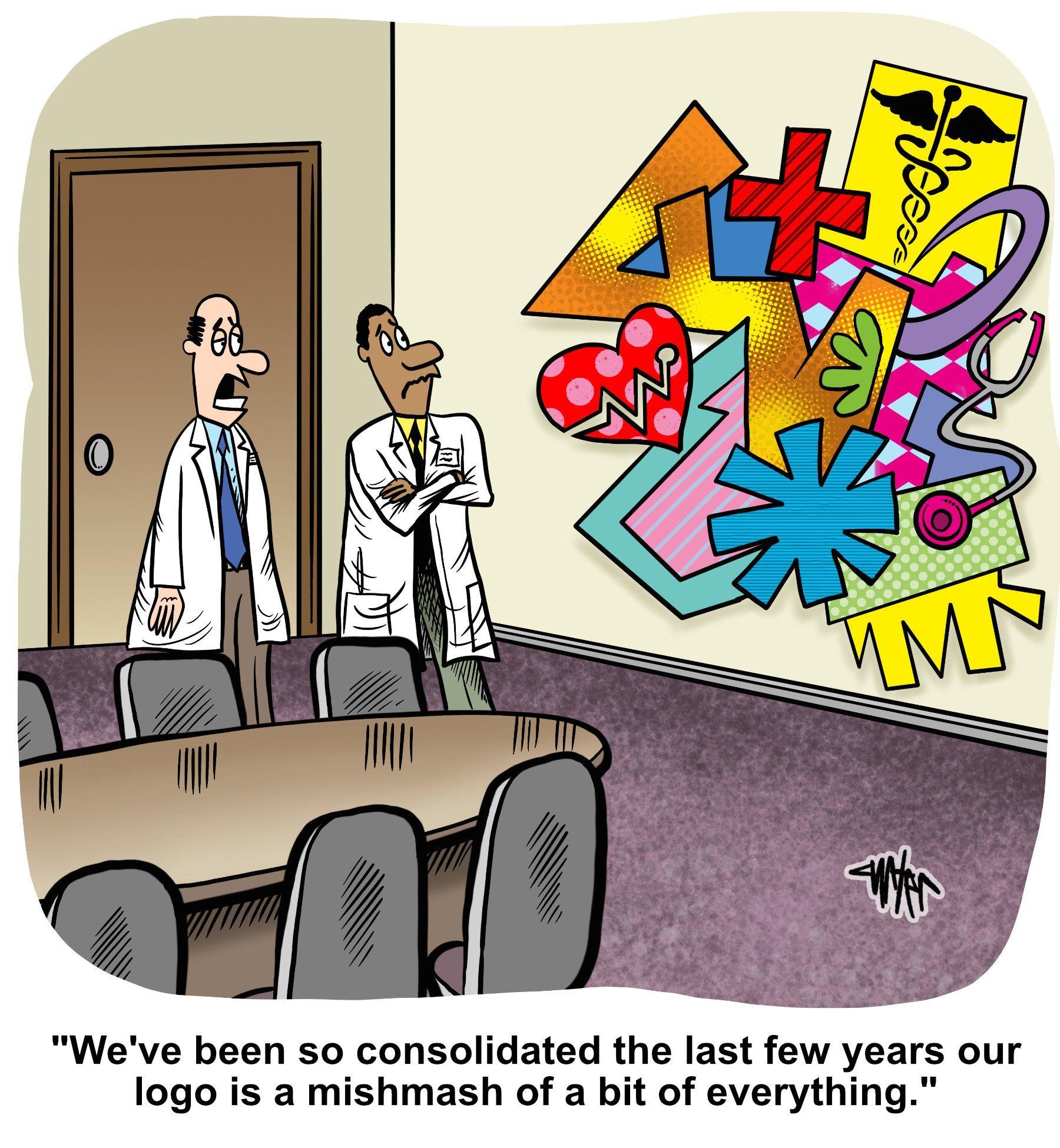 Medical Economics cartoon: When mergers go too far