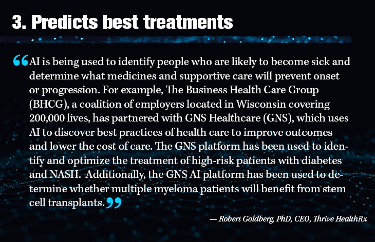 3. Predicts best treatments