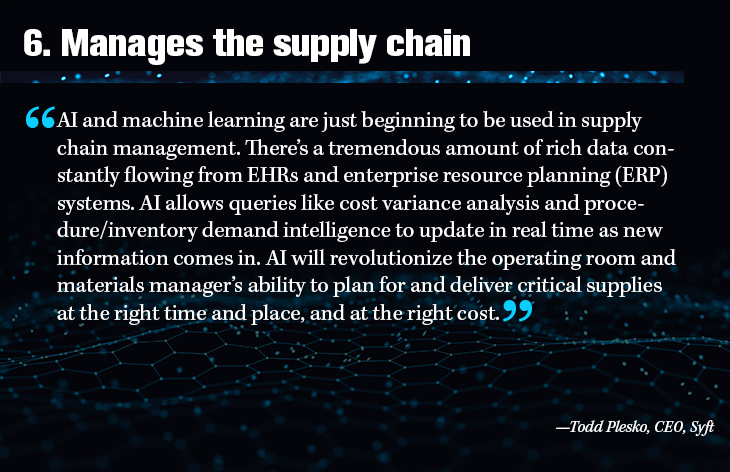6. Manages the supply chain