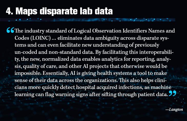 4. Maps disparate lab data