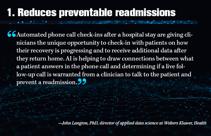 1. Reduces preventable readmissions