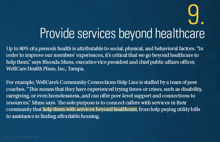 Provide services beyond healthcare