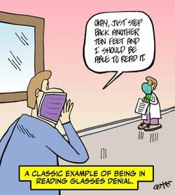 Reading glasses denial