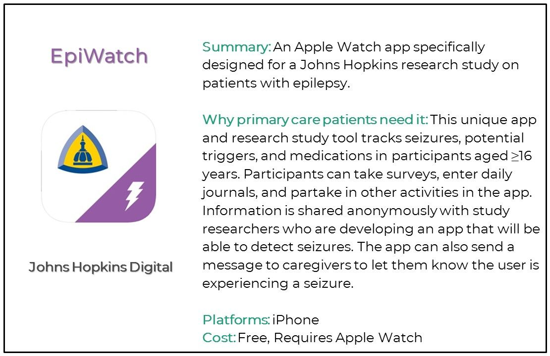 Top 5 Seizure and Epilepsy Apps for Primary Care, EpiWatch