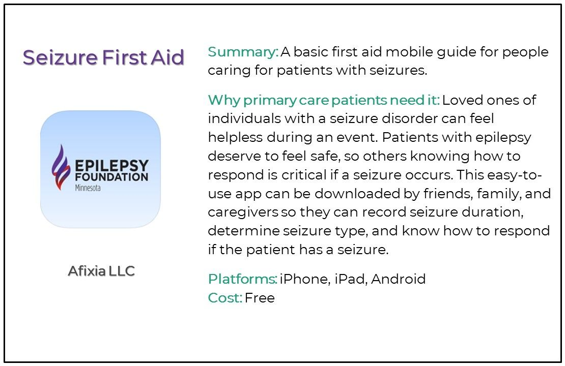 Top 5 Seizure and Epilepsy Apps for Primary Care, seizure first aid