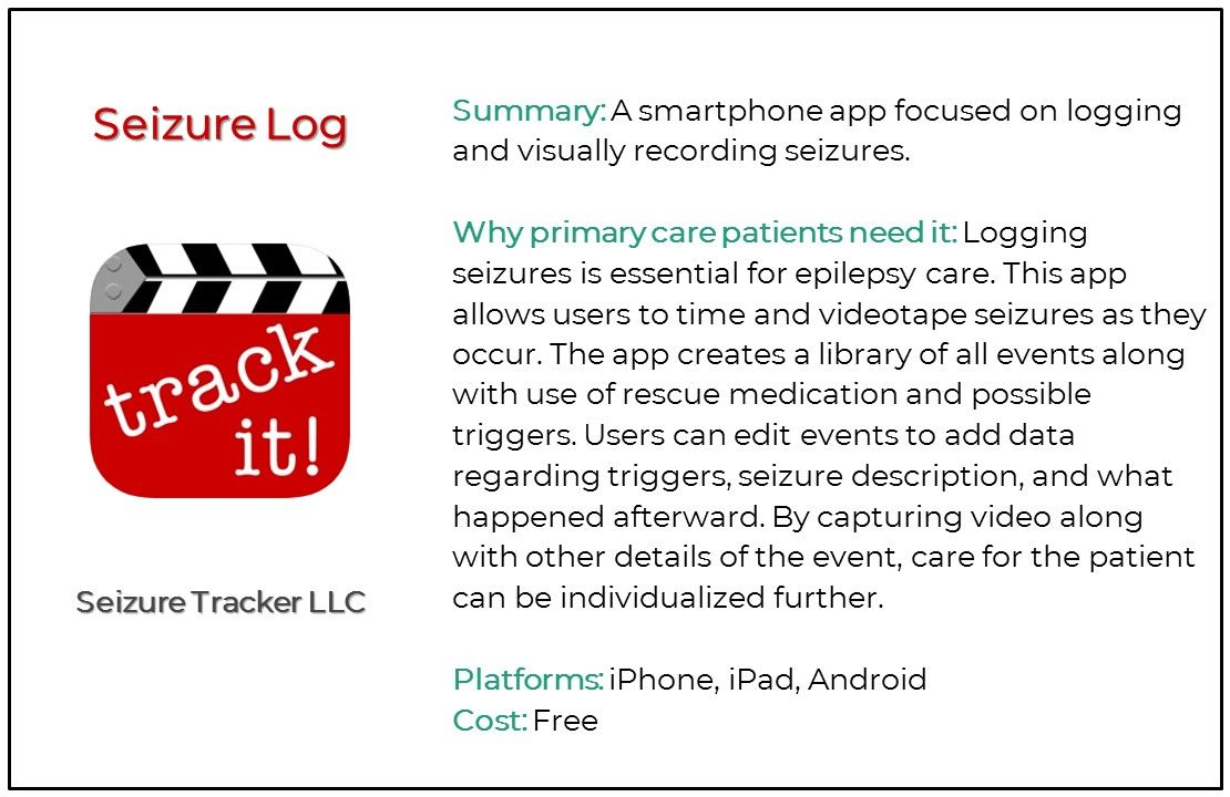 Top 5 Seizure and Epilepsy Apps for Primary Care, Seizure Log
