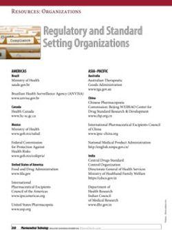 Regulatory and Standard Setting Organizations