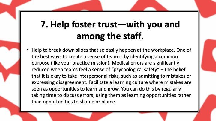 Help foster trust—with you and among the staff