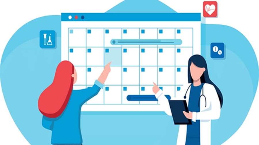 patient pointing at calendar doctor scheduling cartoons