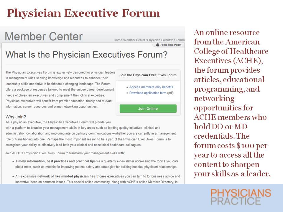 Physician Executive Forum