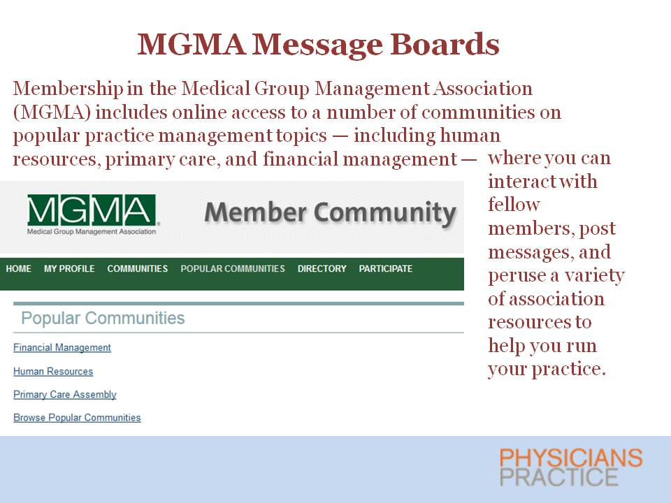 MGMA Message Boards