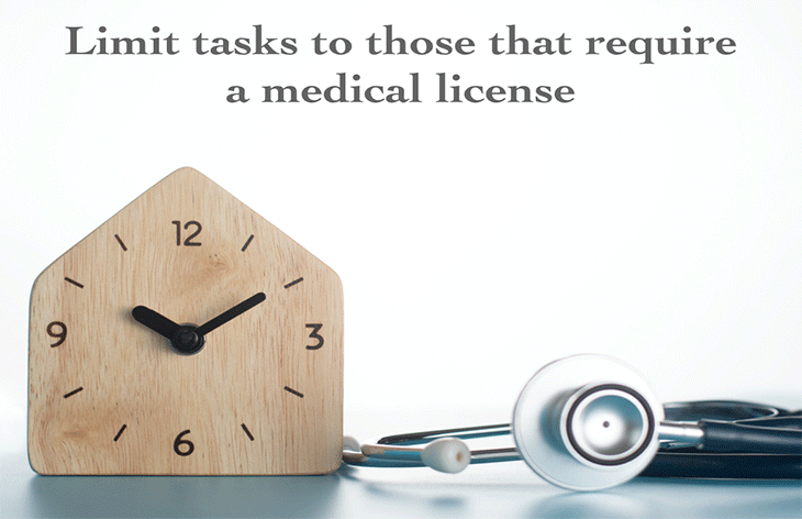 Limit tasks to those that require a medical license