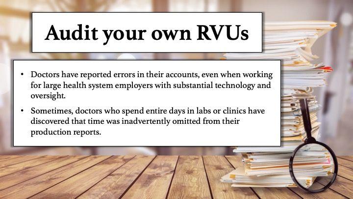Audit your own RVUs
