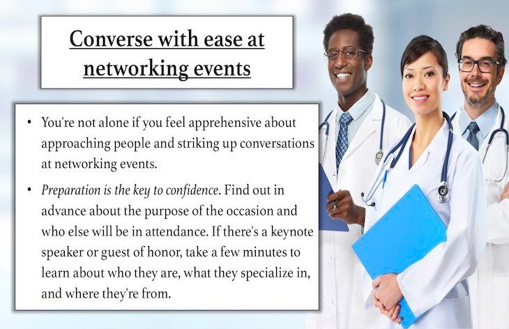 Converse with ease at networking events.