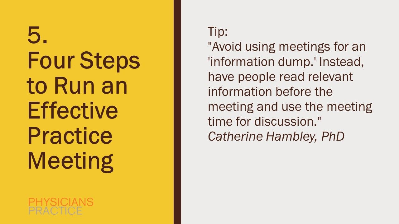 5. Four Steps to Run an Effective Practice Meeting