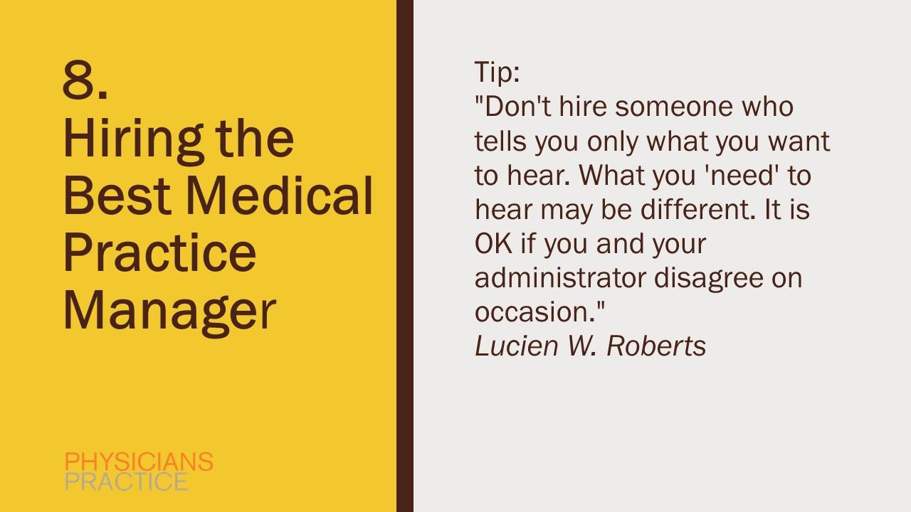 8. Hiring the Best Medical Practice Manager