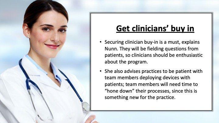 get clinicians' buy in