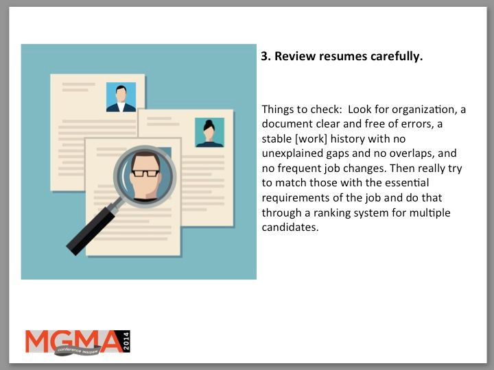 3. Review resumes carefully.