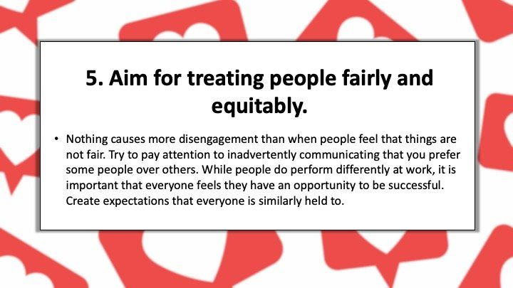 Aim for treating people fairly and equitably