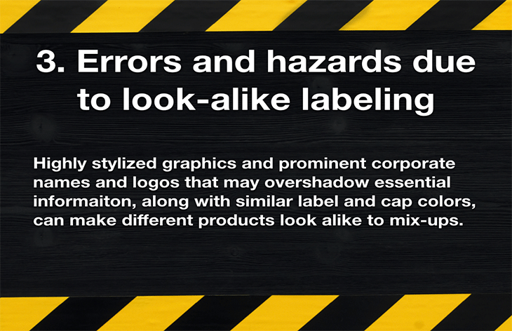 3. Errors and hazards due to look-alike labeling