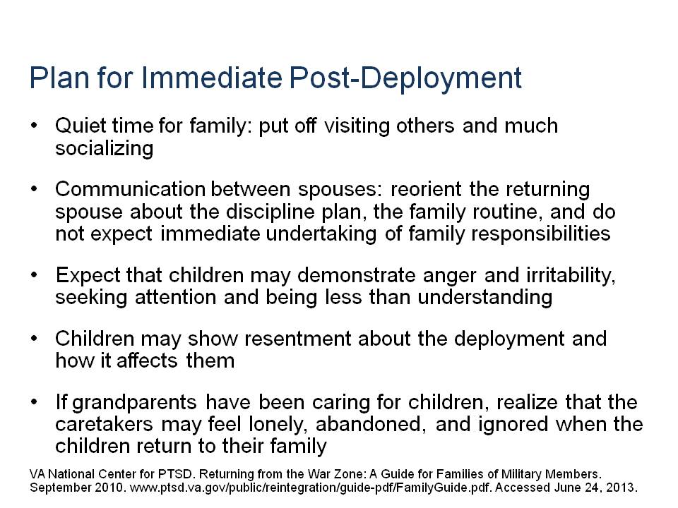 Post-Deployment Plans for Children of Military Parents