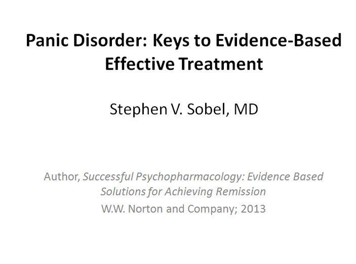 Panic Disorder: Keys to Treatment