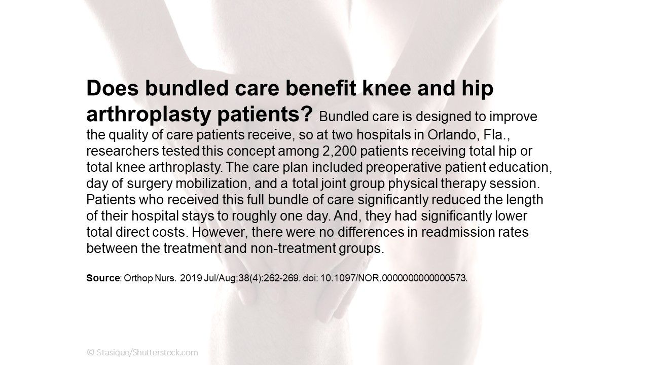 Does bundled care benefit knee and hip arthroplasty patients?