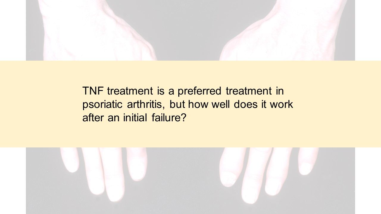 TNF treatment is a preferred treatment in psoriatic arthritis, but how well does