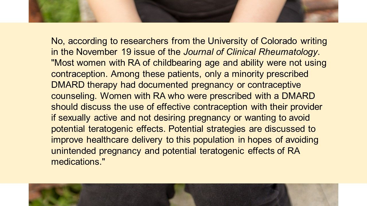 Clinical Quiz:  What proportion of female RA patients use contraception?
