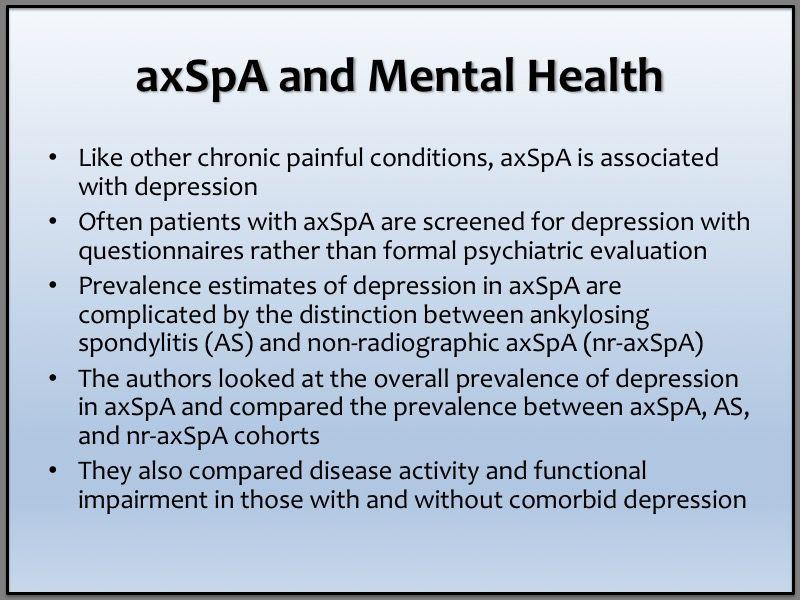 axial spondyloarthritis ankylosing spondylitis depression mental health