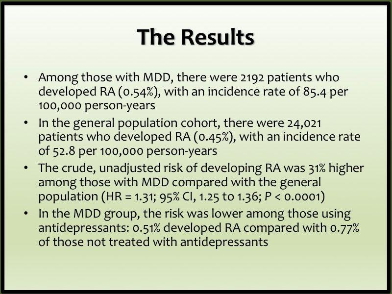 rheumatoid arthritis depression major depressive disorder antidepressant