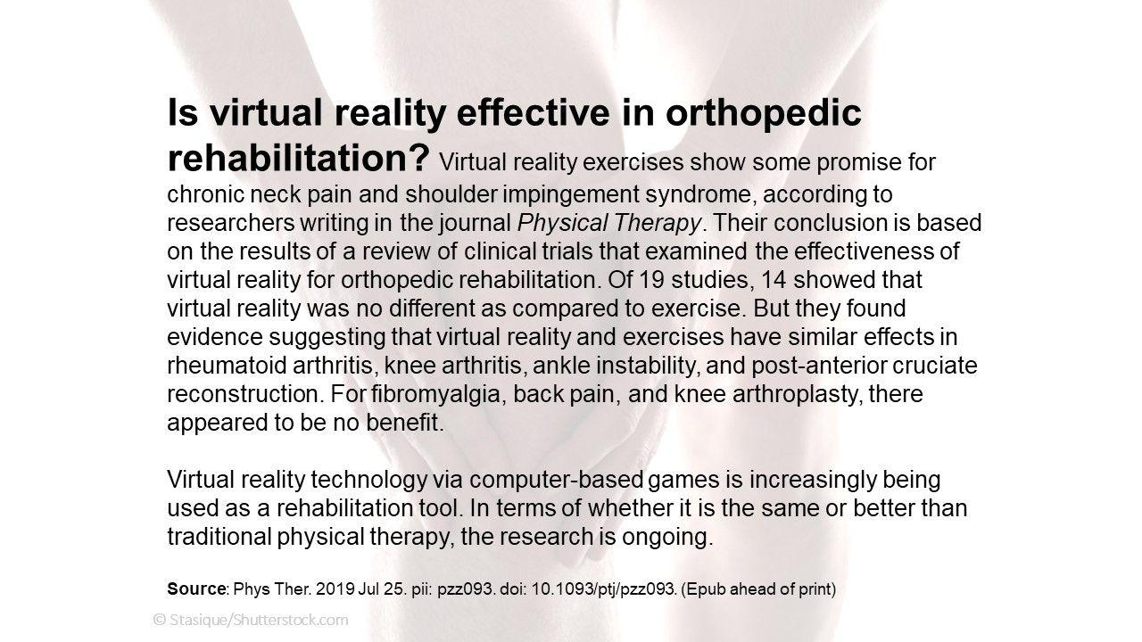 Is virtual reality effective in orthopedic rehabilitation?