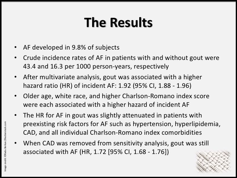gout atrial fibrillation arrhythmia