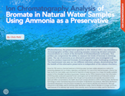 Ion Chromatography Analysis of Bromate in Natural Water Samples Using Ammonia as a Preservative
